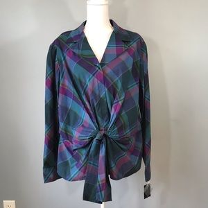 NWT Jones New York Front Tie Long Sleeve Blouse